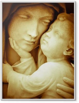 Ingelijste Poster Vintage beeld van de maagd Maria dragende baby Jezus