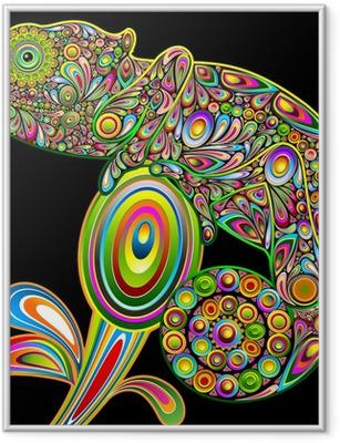 Ingelijste Poster Chameleon Psychedelic Art Design-Camaleonte Psichedelico-Vector