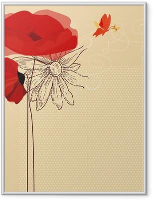 Blomster invitation, valmuer og sommerfugl vektor Indrammet plakat