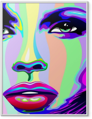 Girl's Portrait Psychedelic Rainbow-Viso Ragazza Psychedelico Framed Poster