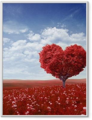 Poster en cadre Arbre en forme de cœur, Saint Valentin fond,