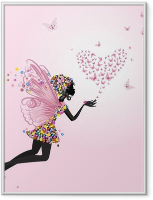 Fairy with a valentine of butterflies Framed Poster
