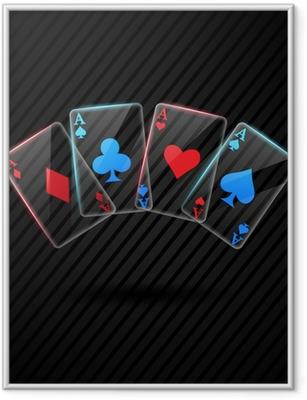 Gerahmtes Poster Vier Glas Poker-Asse Spielkarten Illustration transparent