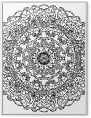 Poster en cadre Cercle de dentelle noire sur fond blanc. Ornement mandala