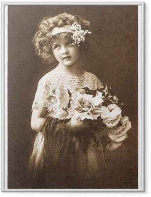 2caa4d754b5275 Plakat w ramie Rocznika nostalgiczne Portret dziewczynki