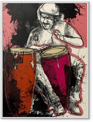Gerahmtes Poster Conga-Spieler - eine Hand gezeichnet Grunge Illustration