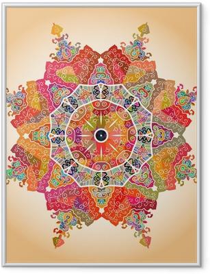 Poster en cadre Oriental mandala motif -
