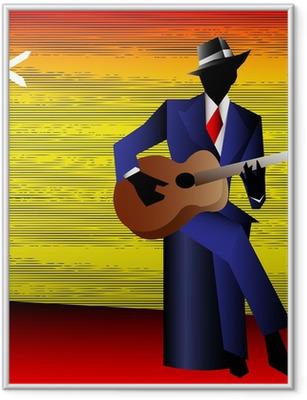 Ingelijste Poster Blues Gitarist at the Crossroads, Vector Achtergrond voor een Conce