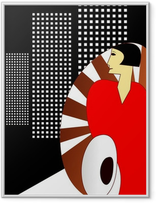 Art Deco Style Poster, with an elegant 1930's Woman Framed Poster