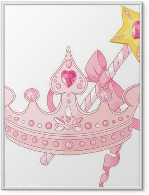 Ingelijste Poster Princess kroon en toverstokje