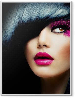 Plakat w ramie Portret mody model brunetka. Fryzura