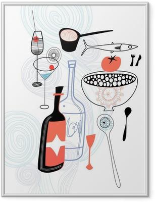 Gerahmtes Poster Getränke und Speisen