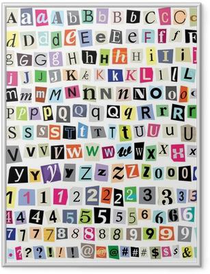 Poster en cadre Vectorielle Ransom Letters note de papier-Cut, chiffres, symboles