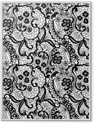 Ingelijste Poster Kant zwarte naadloze patroon met bloemen op witte achtergrond