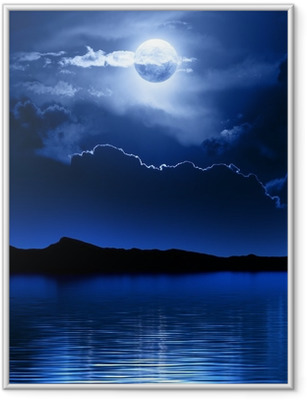 Fantasy Moon and Clouds over water Framed Poster