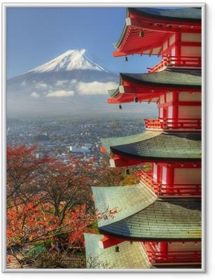 Plakat w ramie Mt. fuji i jesienne liście na arakura Sengen sanktuarium w Japonii