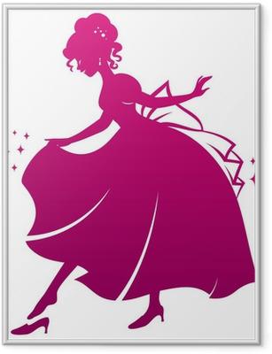 Ingelijste Poster Silhouet van Assepoester die haar glazen muiltje