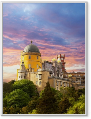 Fairy Palace against sunset sky / Panorama of Palace in Sintra, Framed Poster