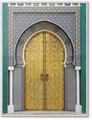 Poster in Cornice Porta golded del Palazzo Reale di Fes, Marocco