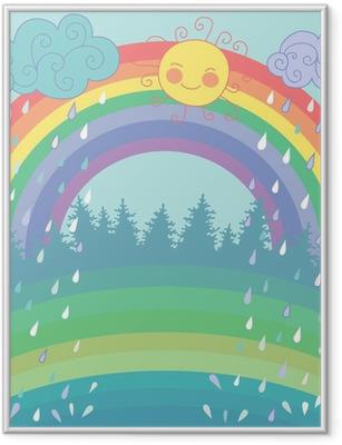 Farverig baggrund med en regnbue, regn, sol i tegneserie stil Indrammet plakat