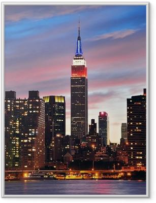 Plakat w ramie Empire State Building w nocy