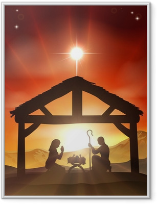 Nativity Christian Christmas Scene Indrammet plakat
