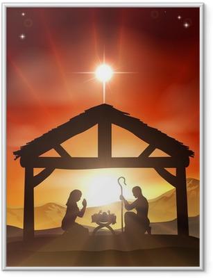 Poster en cadre Christian Nativité Scène de Noël