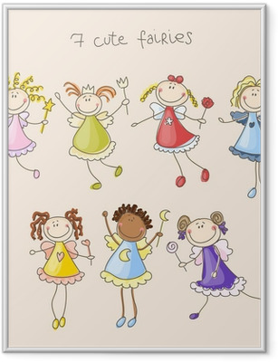 Cute fairies illustration Framed Poster