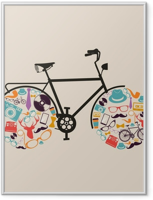 Gerahmtes Poster Weinlese-Hipster-Icons Fahrrad.