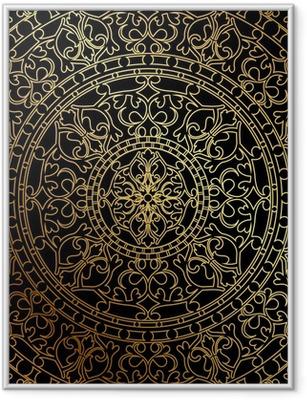 Poster en cadre Vector fond noir avec ornement oriental or