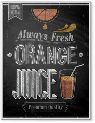 Ingelijste Poster Vintage Orange Juice - Schoolbord. Vector illustratie.
