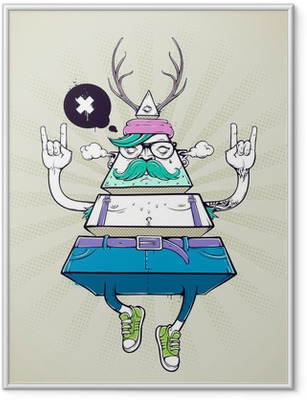 Triangle hipster bizarre character Framed Poster