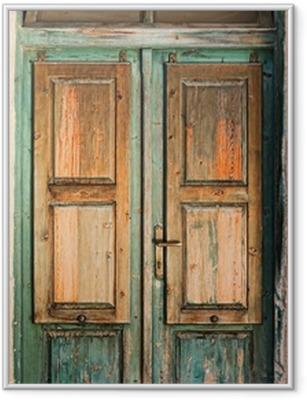 Plakat w ramie Stare drewniane drzwi