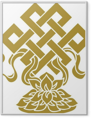 Tibetanischer Endlos Knoten, Lotus Schale - Glückssymbol Framed Poster