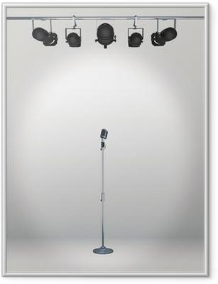 Poster en cadre Microphone vintage avec le projecteur