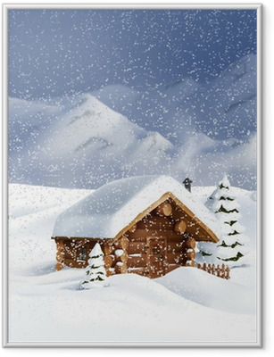 Poster en cadre Hiver noël paysage - hutte, neige, pin, sapin