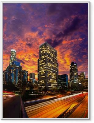 Poster in Cornice Downtown LA notte di Los Angeles skyline tramonto California