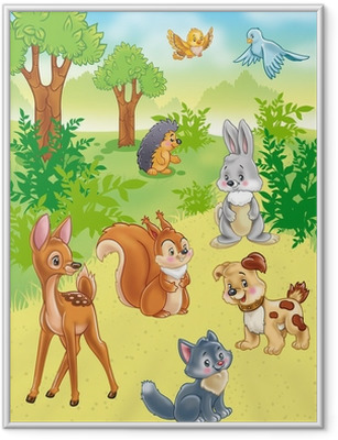 cute cartoon animals in forest Framed Poster
