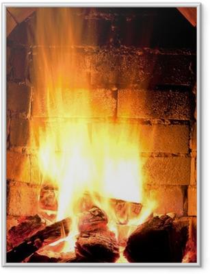 Póster Enmarcado Fuego en chimenea