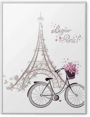 Ingelijste Poster Bonjour Parijs tekst met Eiffeltoren en fiets