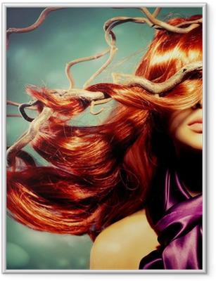 Póster com Moldura Fashion Model Woman Portrait with Long Curly Red Hair