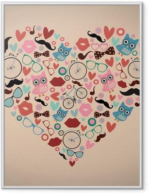 Hipster-doodles asetettu sydämen muotoon Kehystetty juliste