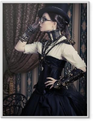 Gerahmtes Poster Weiblich steampunk