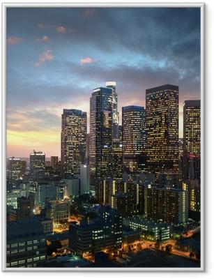 Ingelijste Poster Los Angeles de stad bij zonsondergang, Californië