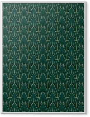Poster i Ram Art Deco Leaves Pattern