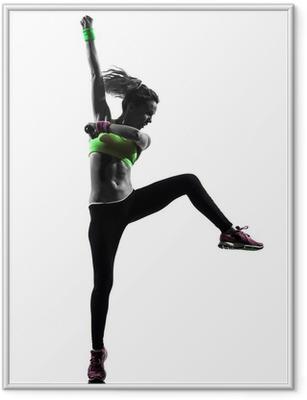 Ingelijste Poster Vrouw uitoefening fitness zumba dansen silhouet
