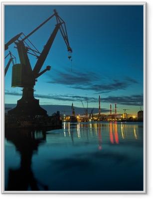 Night in shipyard of Gdansk, Poland. Framed Poster