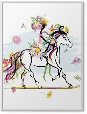 Ingelijste Poster Bloemen meisje op witte paard voor uw ontwerp
