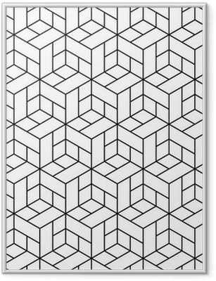 Póster Enmarcado Patrón geométrico transparente con cubos.