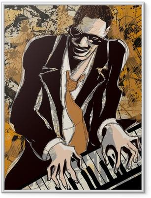 Afro amerikansk jazz pianist Indrammet plakat